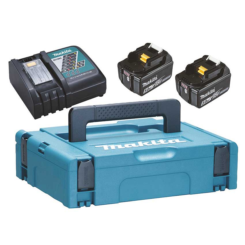 Lādēšanas komplekts 18 V, 2 X BL1850B, DC18RC, MAKPAC