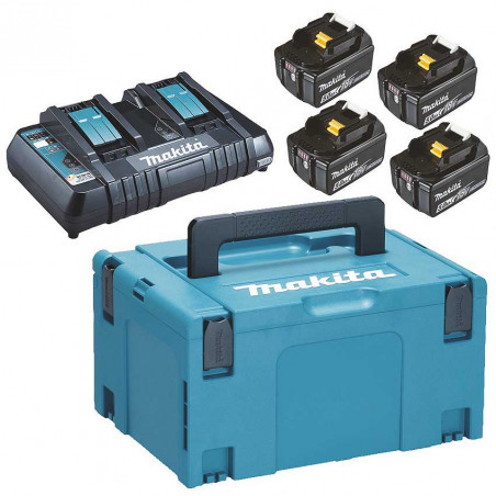 Lādēšanas komplekts 18 V, 4 X BL1850B, DC18RD, MAKPAC